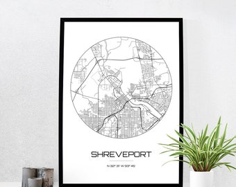 Shreveport Map Print - City Map Art of Shreveport Louisiana Poster - Coordinates Wall Art Gift - Travel Map - Office Home Decor