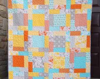 Modern Lap Quilt, Summer Quilt, Beach Quilt, Sunny Day, Orange Yellow, Aqua, Gray, Grey Quilt, Blanket Ready to Ship