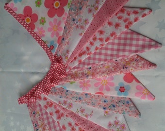 Handmade fabric bunting in floral pink designs