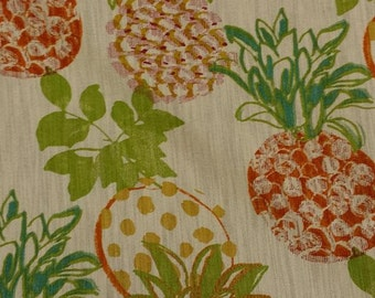 Pineapple Grove Orange Green Fruit Floral Drapery Fabric by Richloom Platinum Fabrics by the Yard