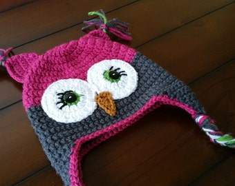 Crochet Owl Hat Pink and Grey for newborn baby toddler child teen