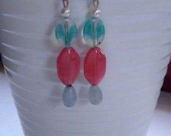 Pink and teal dangle earrings