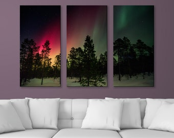 "Aurora Borealis in Pink and Green, 3-Panel Split Triptych Print, 1.5"" Deep Frame, Gallery Wrap, Hanging Canvas Home & Office Wall Art Decor"