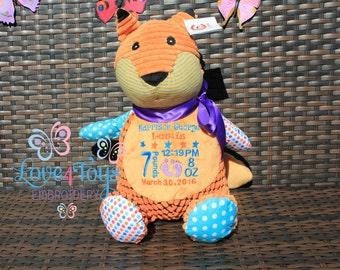 Personalised Fox Teddy Cubbies keepsake New Baby