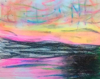 Pink and Black Ocean Drawing