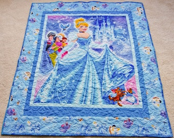 Feel the Magic! Sparkling Princess CINDERELLA Quilt, Toddler Gift Idea, Minky Backing, Professionally Quilted, 43 x 48
