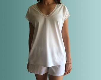 Capri Organic Cotton PJ Set - White Organic Top and Shorts