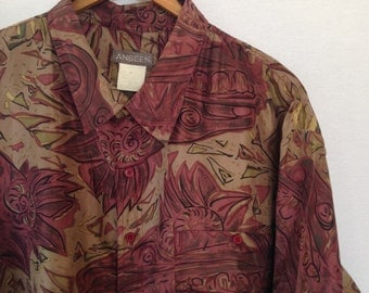 1990s asian inspired dragon/medallion print silk shirt by ANSEEN