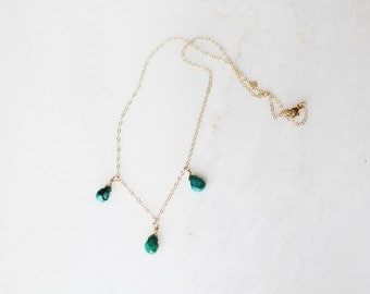 Turquoise Necklace, Dainty Necklace, Teardrop Necklace, Gemstone Jewelry, Gift for Her, 14k Gold Filled or Sterling Silver
