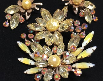 Vintage Yellow Flower Rhinestone AB Sabrina Brooch Earring Set