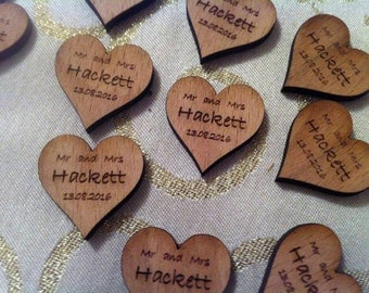 Little Wooden Love Heart Favours - Personalized Mr & Mrs/Happy Birthday/Anniversary Table Decoration