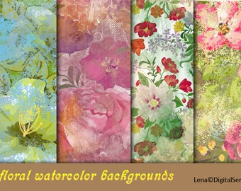 13 floral watercolor backgrounds INSTANT DOWNLOAD decoupage paper flowers printable 12x12 Scrapbook