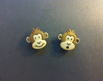 2 Cartoon Like Monkey Magnets or Push Pins