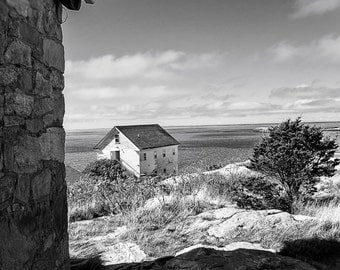 Ocean Photography, New England Photography, Cottage on Isle of Shoals, Ocean Wall Decor, Black and White
