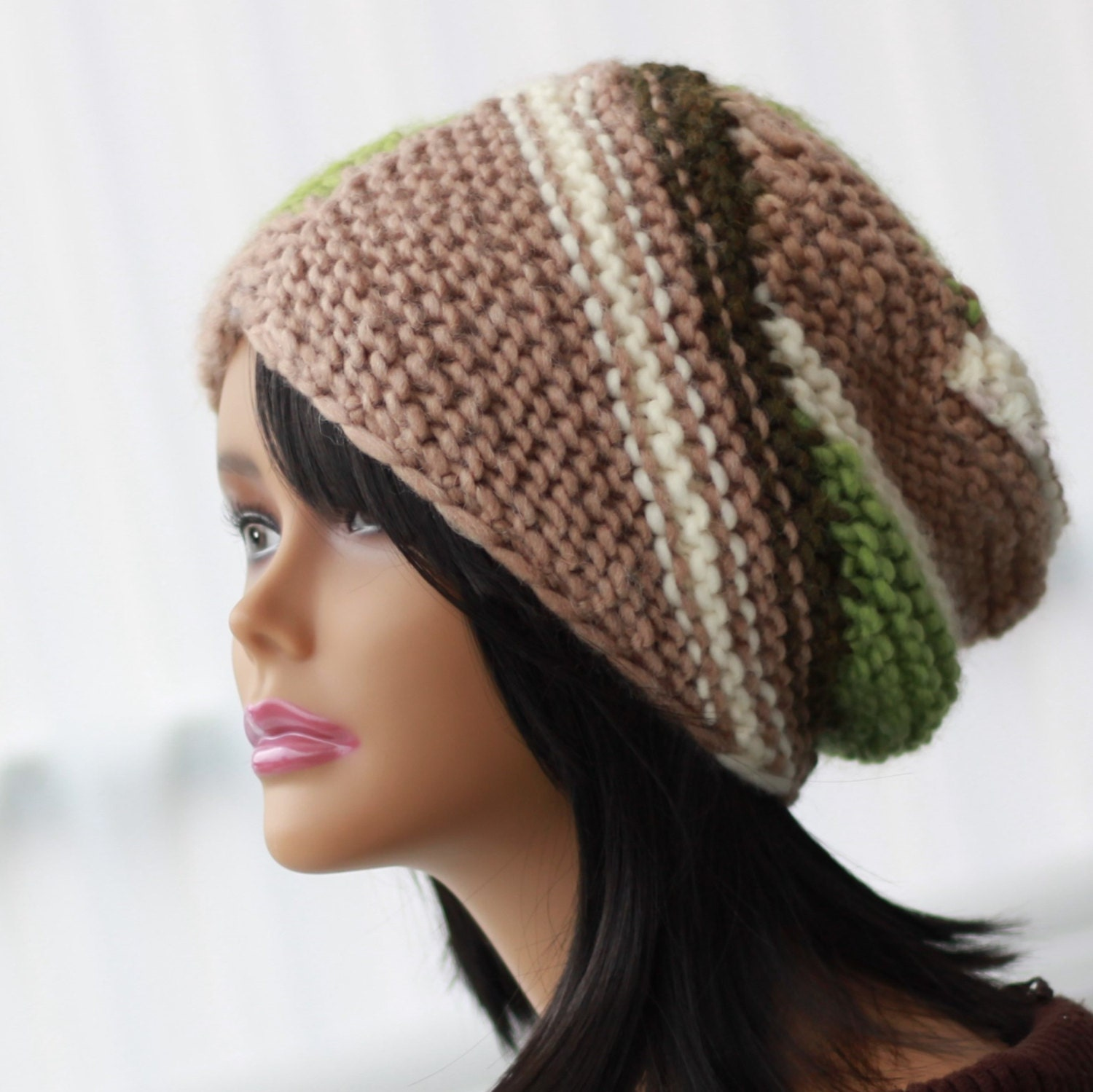 Loose Beret Knitting Pattern : Knitting pattern, Patron de tricot, ALTERNATIVE Sticking Slouchy Beanie Hat B...