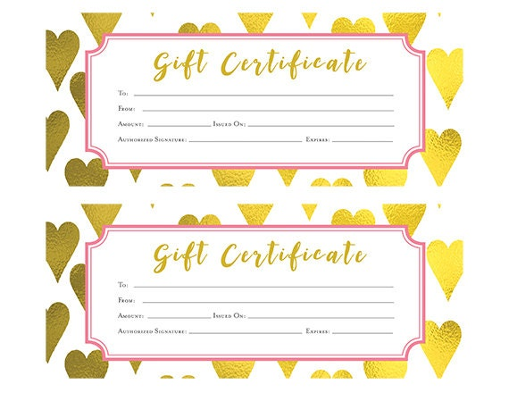 Gold heart heart gold foil gift certificate download premade this is a digital file yadclub Gallery