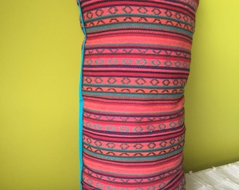 Aztec Breakfast Cushion green piping