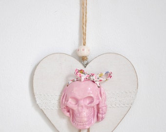 decoration heart hanging wood and ceramic skull