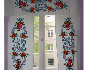 Set of three textiles / hand embroidered textiles / old textile / hand embroidery from Ukraine / door window textile