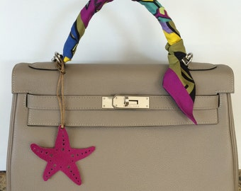 NEW COLORS! Leather Starfish Bag Charm on Silk Cord