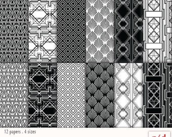 Wrapping Paper - Art Deco Patterns - Black & White, Digital, Printable PDF, Instant Download