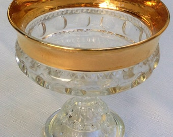 Vintage Carnival Glass Compote Bowl ~Kings Crown/Thumbprint~ Gold Trim Created by Indiana Glass