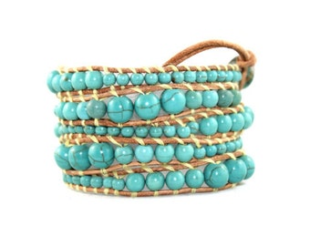 Chunky Leather Wrap Bracelet