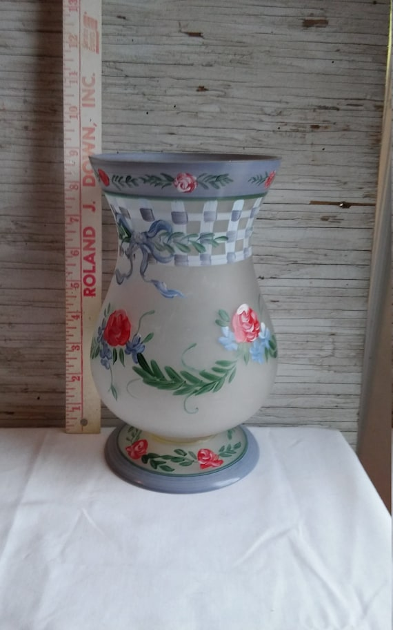 "Vintage 9"" Hand Painted Frosted Glass Vase.  The Base was Applied During the Manufacturing Process.  Near Perfect if not.  No chips/cracks."