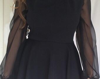 retro handmade! 60s-inspired *Little Black Dress* with sheer sleeves
