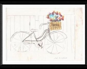 Bike with Basket of Flowers Print