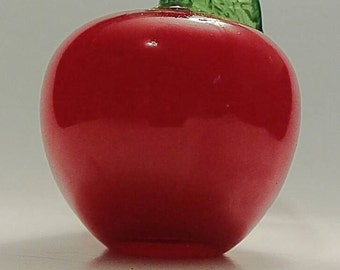Red Apple Glass Paperweight