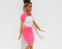 Handmade knitted fashionable Barbie outfit - sparkly white boob tube, with pink mini skirt and bolero. For dolls with style. Ready to ship!