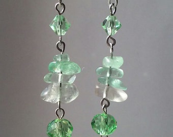 Flourite and Glass Earrings