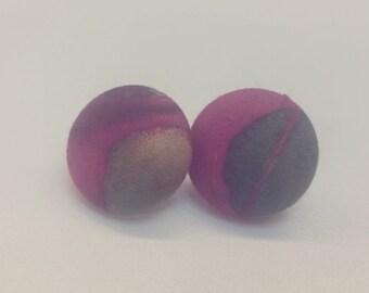 Handmade Fabric Button Stud Earrings