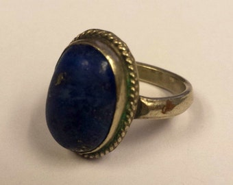 Sterling Silver .925 Ring With Lapis Lazuli, Size 7