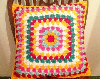 Colour Pop Retro Crochet Cushion