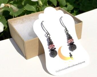 Rose Earrings, Swarovski Crystal, Dangle and Drop Earrings, Black Earrings, Steampunk, Gift for Her, Goth Earrings, Dainty Earrings, Dangle