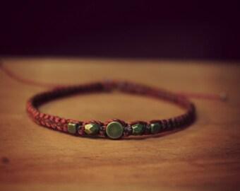 Macramé bracelet with bronze beads