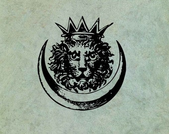 Crowned Lion Head in Crescent - Antique Style Clear Stamp