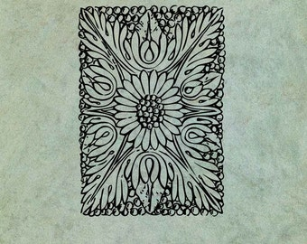 Classical Floral Foliage Rectangle Pattern - Antique Style Clear Stamp
