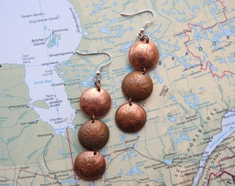 Canadian 1 cent curved coin earrings - made of coins from Canada