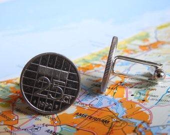 Netherlands Dutch quarter coin cuff links jewelry in birth year 1980 - 1982 - 1983 - 1984 - 1985 - 1986 - 1987 - 1988 - 1989