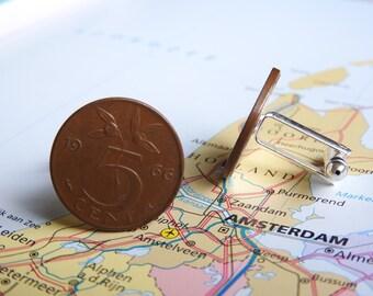 Netherlands Dutch penny coin cuff links in birth year 1970 - 1971 - 1972 - 1973 - 1974 - 1975 - 1976 - 1977 - 1978 - 1979 - 1980