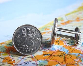 Netherlands Dutch quarter coin cuff links in birth year 1970 - 1971 - 1972 - 1973 - 1974 - 1975 - 1976 - 1977 - 1978 - 1979 - 1980 Holland