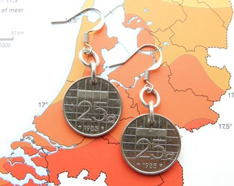 Netherlands dime coin earrings in year of birth 1982 - 1983 - 1984 - 1985 - 1986 - 1987 - 1988 - 1989