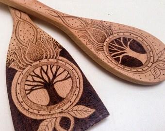 Personalized pyrography tree of life utensil set, personalized pyrography wooden spoon and spatula gift idea, customized kitchen gift idea