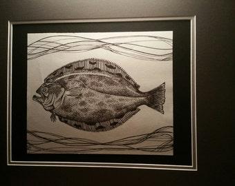 Original Pen and Ink Flounder