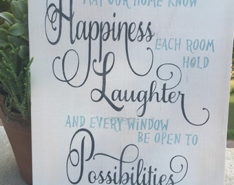 May our home know Happiness,Subway wall art,Gallery wall wood sign,Inspirational wood sign,love quote,wall art,family sign,wood sign saying