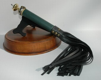 BDSM Flogger, Black Rubber Falls, Green Leather Handle