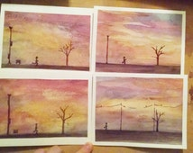 Running through the Sunset-greeting card original watercolor painting